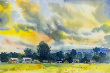 Watercolor landscape original painting colorful of Fields mountain evening