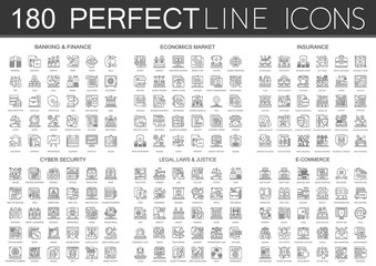 180 outline mini concept infographic symbol icons of finance banking, economics market, imsurance, cyber security, legal laws and justice, e-commerce.