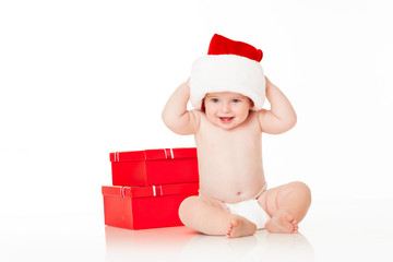 Cute Baby Santa with red gift boxes