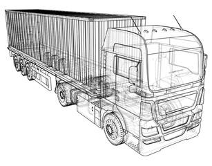 Cargo Truck Trailer. Wire-frame. EPS10 format. Vector rendering of 3d.