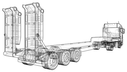 Low bed Truck Trailer. Abstract drawing. Wire-frame. EPS10 format. Vector created of 3d.