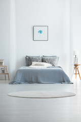 Carpet in cold bedroom interior