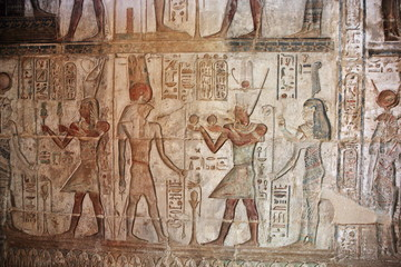 Hieroglyphic carvings and paintings on the interior walls of the temple