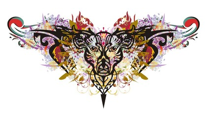 Colorful deer head in grunge style. Tribal deer head closeup with color splashes for your design
