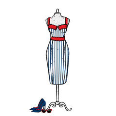 A stylish vintage dress, high heel shoes, retro glasses and a bag. Vector illustration. Fashion, style, clothing and accessories.