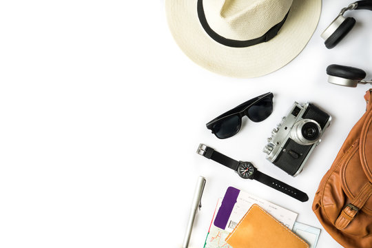 Top view of travel accessories on white table, Modern Vintage items concept with Copyspace