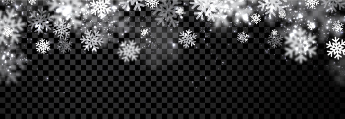 Black winter banner with snowflakes.