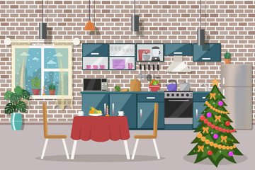 Christmas kitchen interior. Flat design