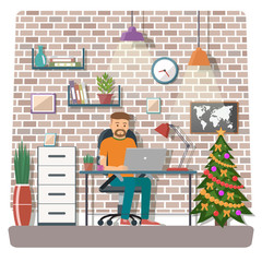 Man vector character working in the office or home.  Freelance work. Christmas workspace vector illustration.
