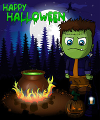 Halloween poster with Frankenstein in forest. Vector illustration.
