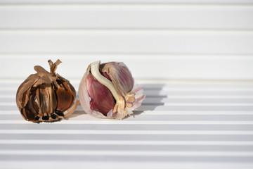 photography image black and white garlic bulb cloves on bright white wood background taken on South coast England UK