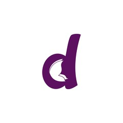 Letter d with butterfly inside