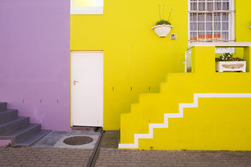 Colourful houses in the former township of Bo Kaap, Cape Town, South Africa.