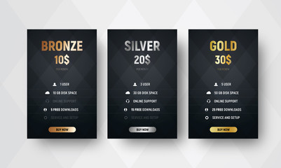 template of premium vector price tables with a black background with rhombuses.