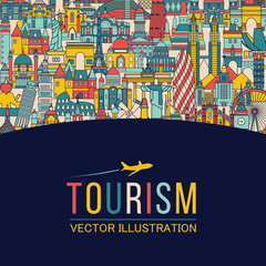 World skyline. Travel and tourism background. Vector illustration