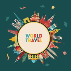 World skyline. Travel and tourism background. Vector illustration