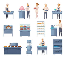 Confectionery Factory Cartoon Icons Set