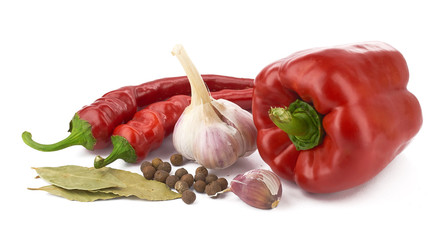 spices-garlic, pepper, bay leaves on white background