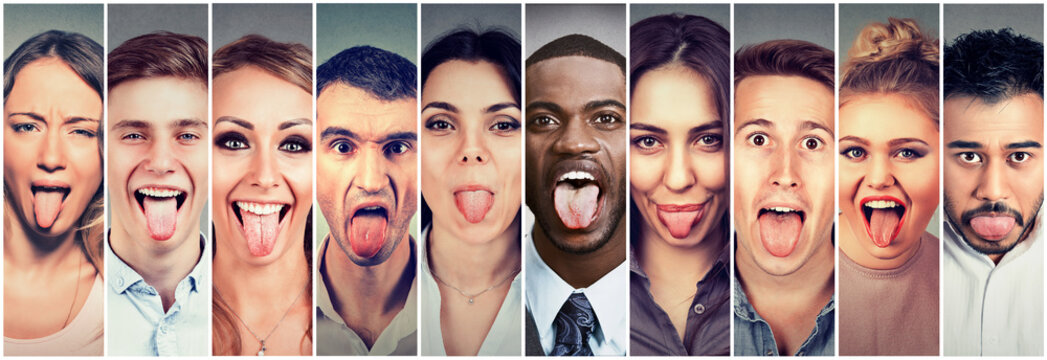 Group of multicultural young people men and women sticking out their tongues