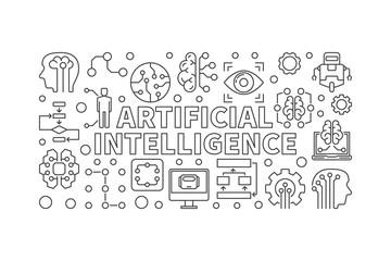 Artificial Intelligence vector modern horizontal banner