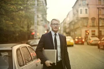 Young businessman on his way to work