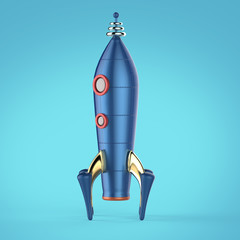 vintage colorful rocket spaceship with riveted body and two windows symbol of successful business start up render isolated retro technology style