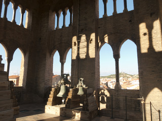 Bells in the Mudejar tower of the Savior in Teruel, Aragon, Spain