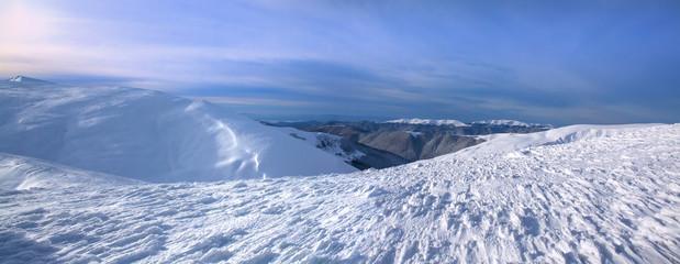 Beautiful winter landscape. Panoramic view of Carpathian mountains, Ukraine.