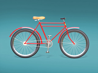 Bicycle concept poster design, retro bike render, isolated on color backgound with place for text. sports hipster ride summer event