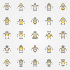 Robot colorful icons set - vector robots creative signs