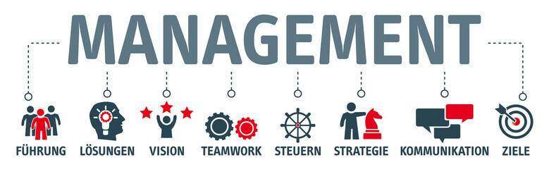 Banner Management und Leadership - Vektor Illustration mit icons