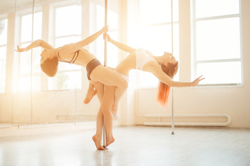 pole dancing and gymnastic course. concept about wellness and sport Wall mural