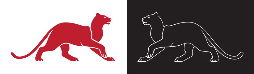 Two panther silhouette, vector outline of wildcat for logo or mascot.