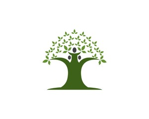 Oak tree icon concept of a stylized