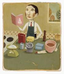 Man with cookbook baking in kitchen