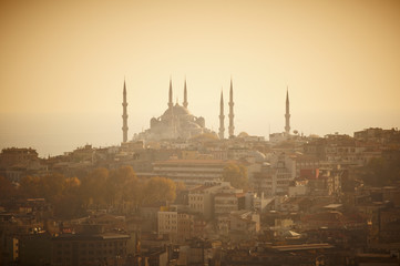 Sultanahmet mosque on sunset time, Istanbul Turkey
