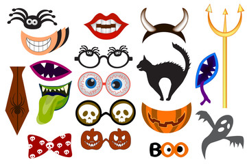 Halloween party photo booth collection. Accessories for festival