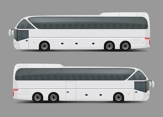 Blank white private charter, tour or coach bus right and left side view realistic vector template. Modern commercial passenger travel or tourist transport ready for brand, corporate ad mockup design