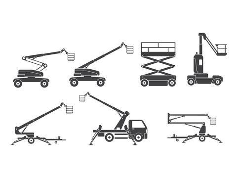 Lifting machine icons set. Vector. Illustration