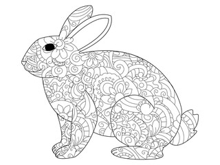 Rabbit coloring raster for adults
