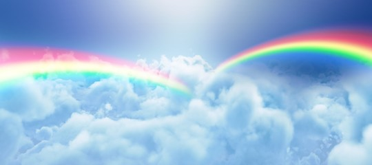 Composite image of graphic image of double rainbow