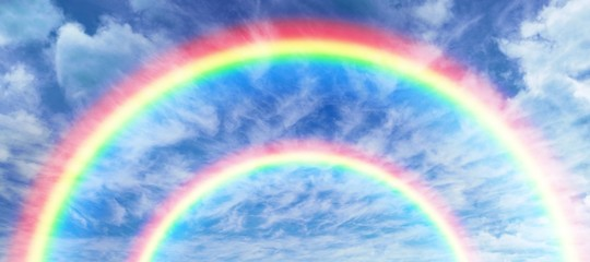 Composite image of digitally generated image of rainbow