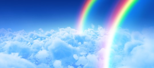 Composite image of digital image of rainbow