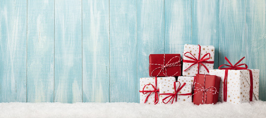 Christmas wrapped gift boxes