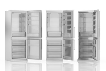 Modern refrigerator isolated on white 3D illustration