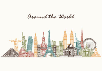 Hand drawn world skyline. Sketch style world famous monuments. Travel and tourism background. Vector illustration