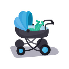Little baby lying in a blue modern baby pram, transporting of small children with comfort cartoon vector illustration