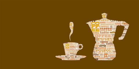 coffee /espresso design template, word cloud coffee menu, free copy space, vector