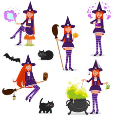 Set of funny witches. Isolated objects on white background.