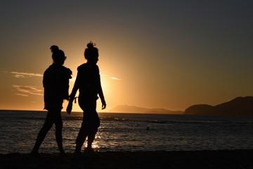 sunset beach silhouette couple love sun sea people ocean sky sunrise woman romance trave young nature romantic happy